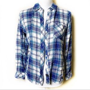 Rails Blue White Plaid Flannel Button Down Top